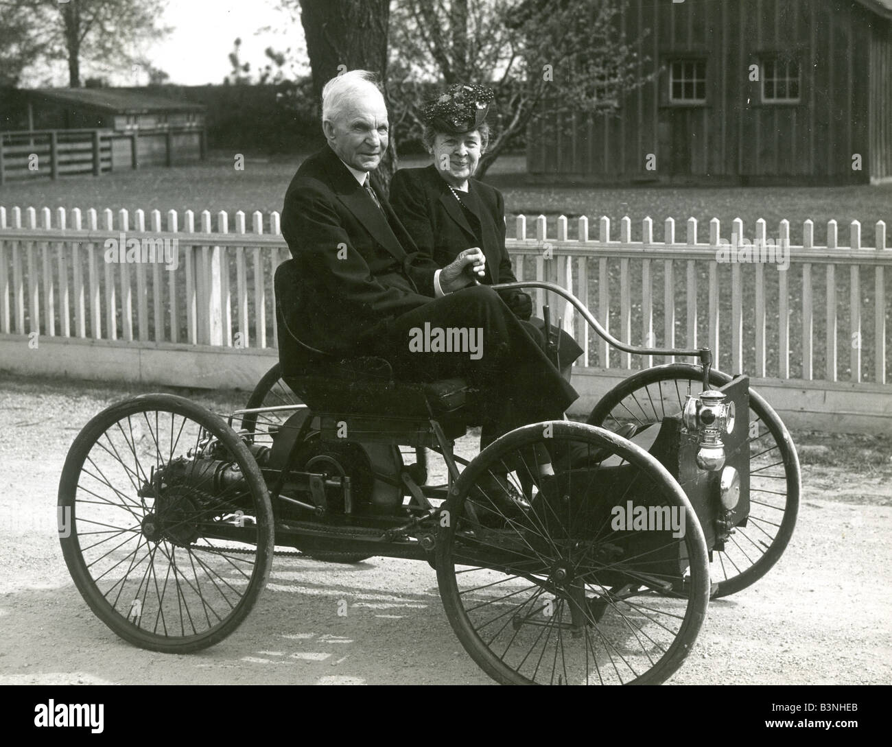 HENRY FORD and wife in 1956 pose in the first car he built in 1896  sc 1 st  Alamy & HENRY FORD and wife in 1956 pose in the first car he built in 1896 ... markmcfarlin.com