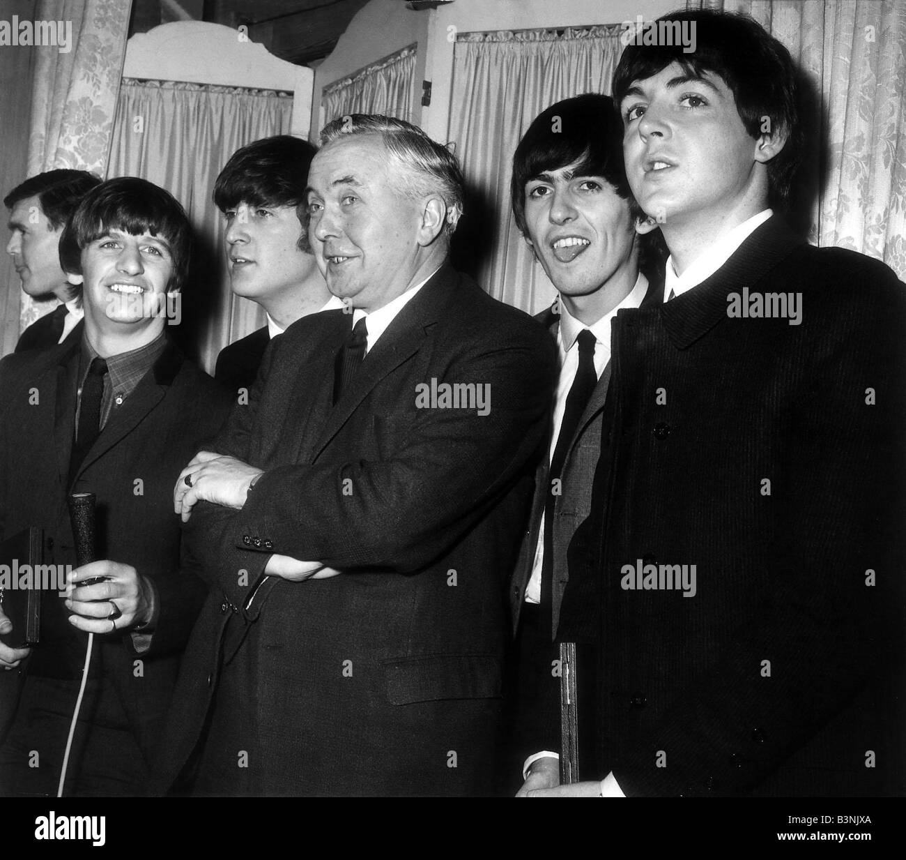 prime minister harold wilson with the beatles 1964 stock