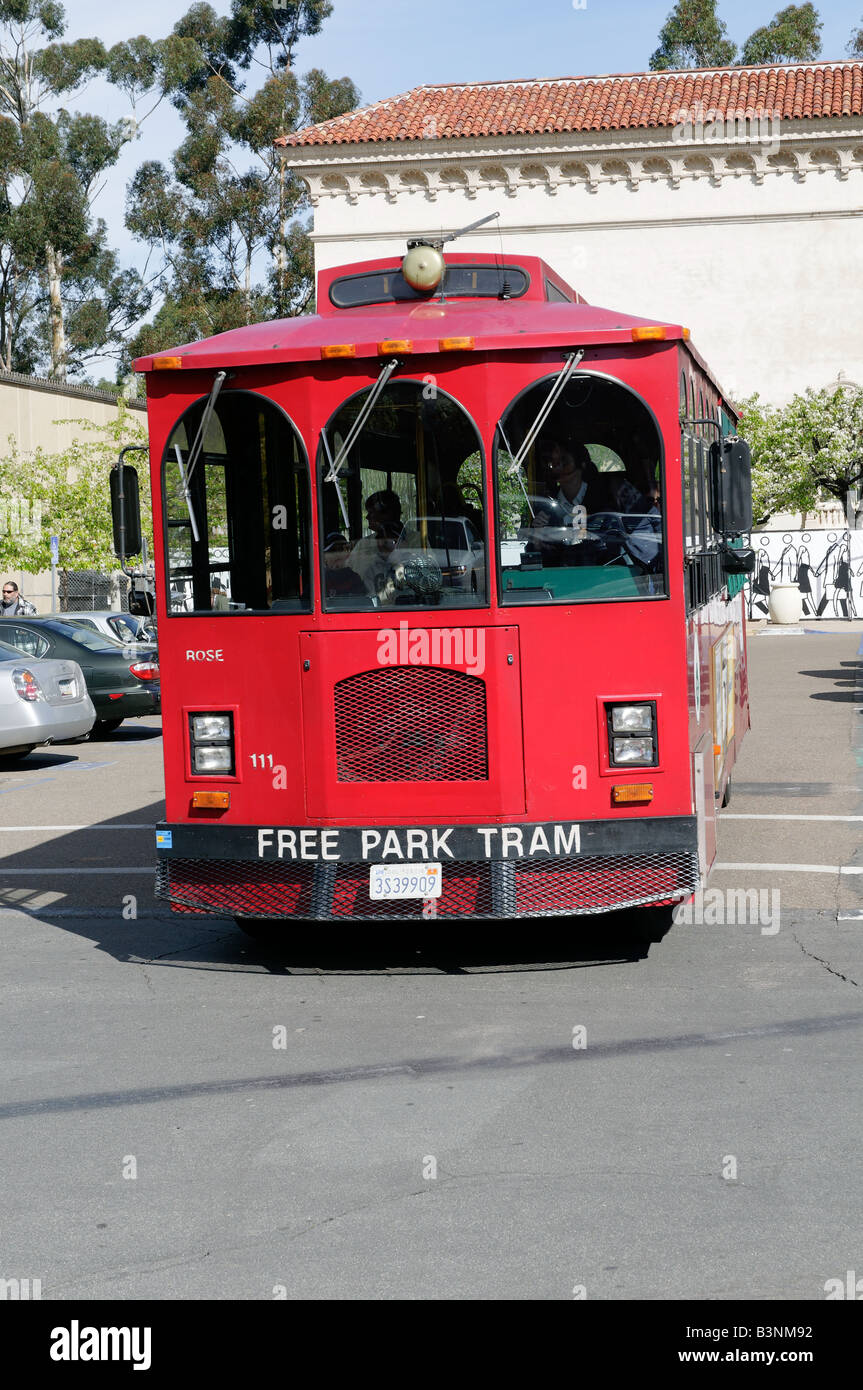 parking lot tram in balboa park san diego california usa stock photo royalty free image. Black Bedroom Furniture Sets. Home Design Ideas