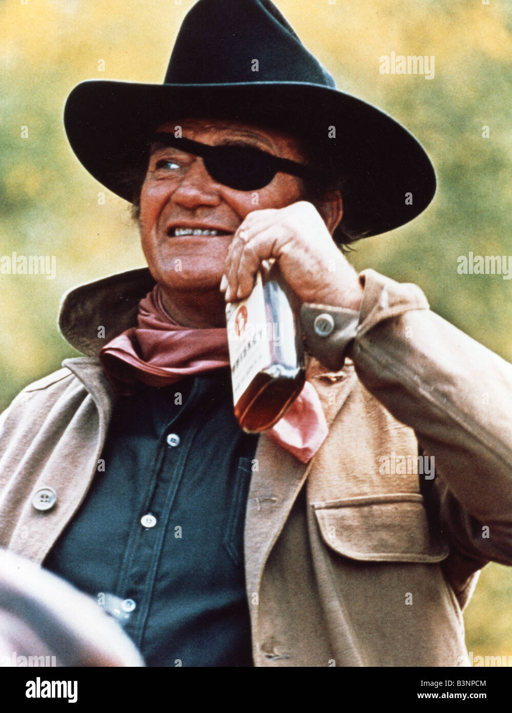 rooster cogburn 1975 universal film with john wayne stock photo royalty free image 19532932. Black Bedroom Furniture Sets. Home Design Ideas