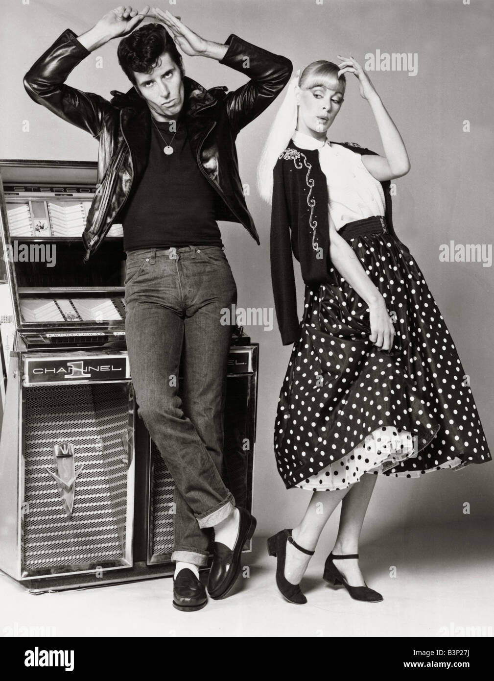 Models Posing Wearing Fifties Style Fashion Man Wearing Jeans Black T Stock Photo 19539062 Alamy