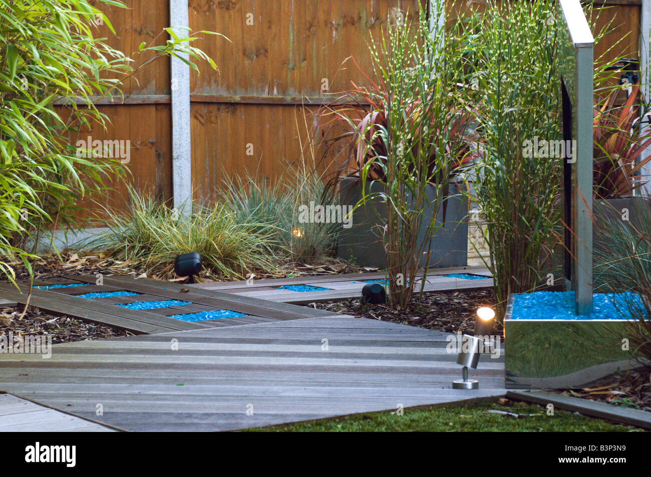 Modern Water Features Modern Landscaped Garden With Water Feature And Astro Turf Lawn