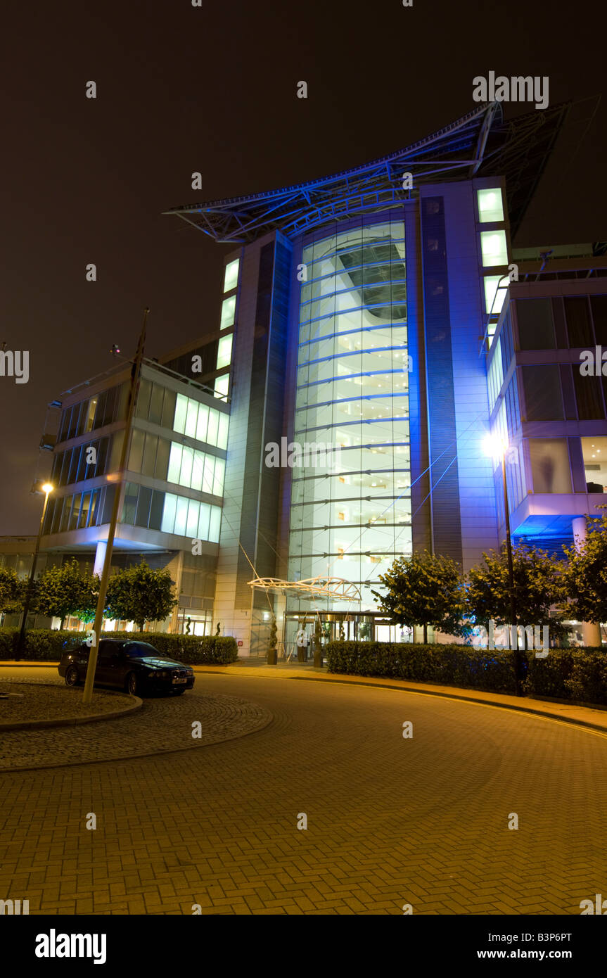 St davids luxury 5 star hotel and spa cardiff bay illuminated at night exterior wales uk