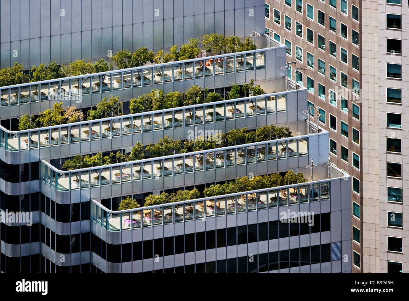 Stock Photo   Aerial View Above Roof Top Gardens And Balconies Shaklee  Terraces One Front St San Francisco California Financial District