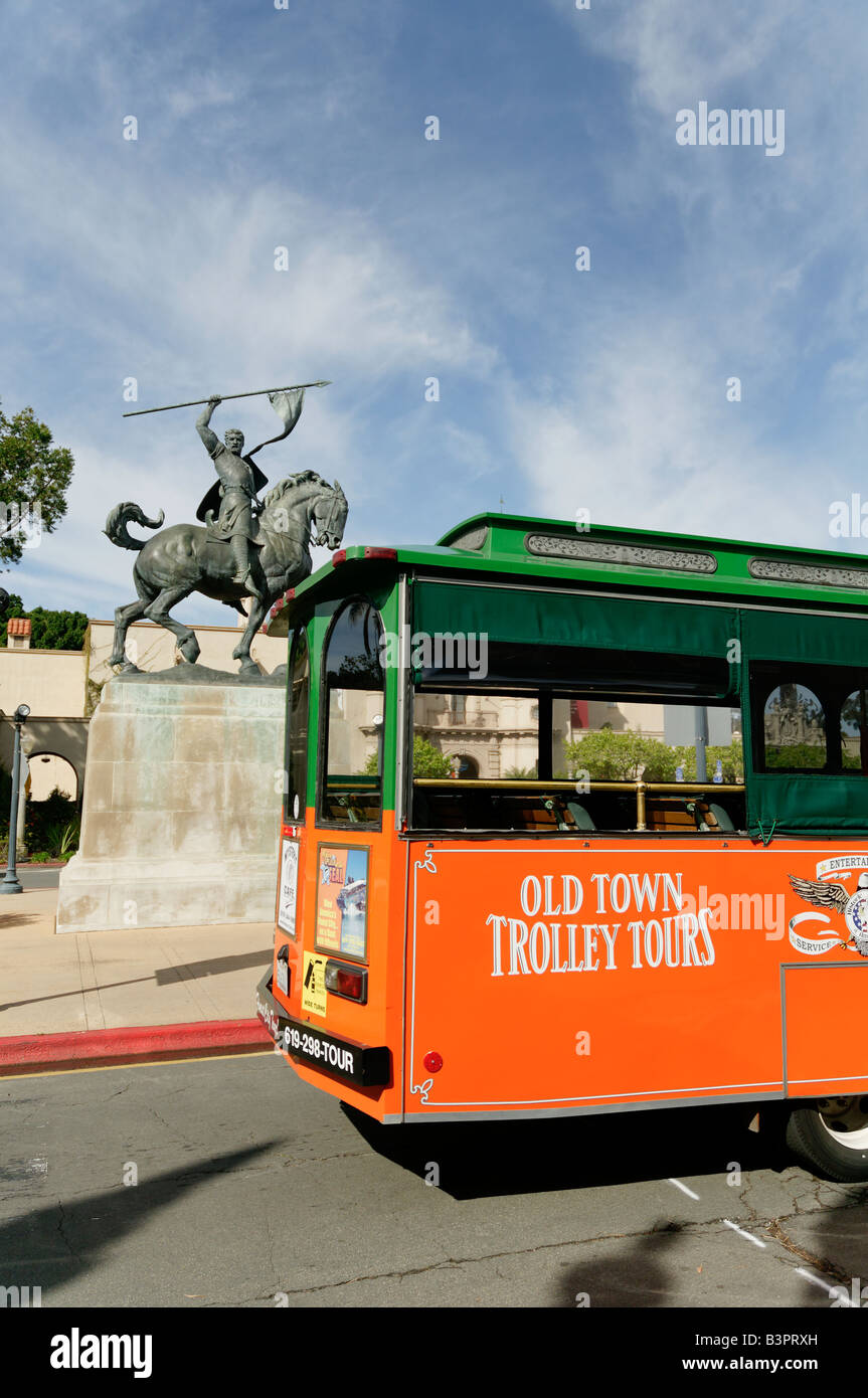Old Town Trolley Tours Bus At El Cid Statue In Balboa Park San Diego California USA