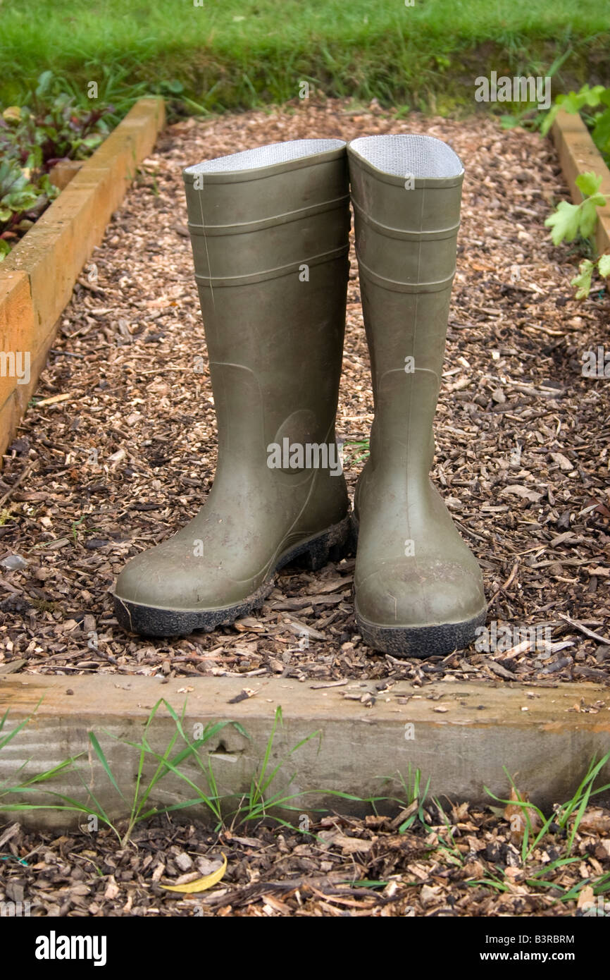 Dirty Wood Chips ~ Dirty wellington boots on allotment path green wellies
