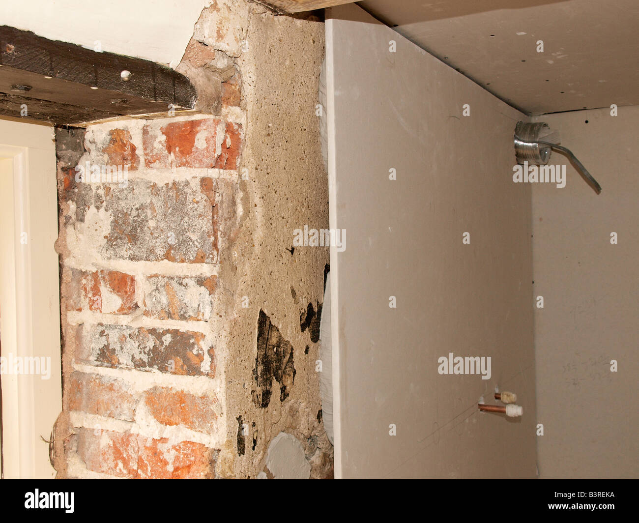 Renovate House Interior Dry Lined Wall With Dot And Dab Technique Used To