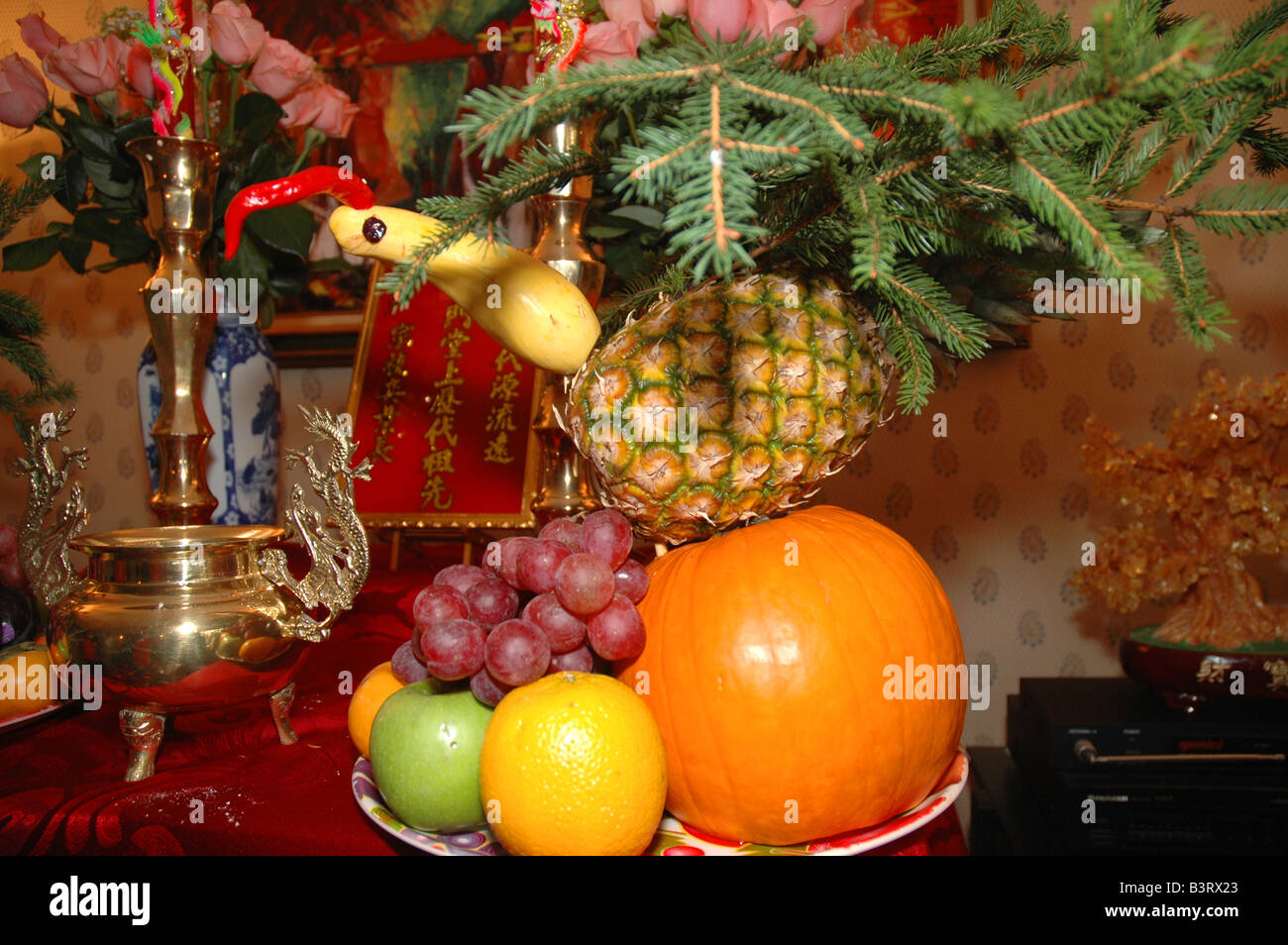 Pine Branches For Decoration A Decoration Made Of Fruits And Pine Branches To Replicate A