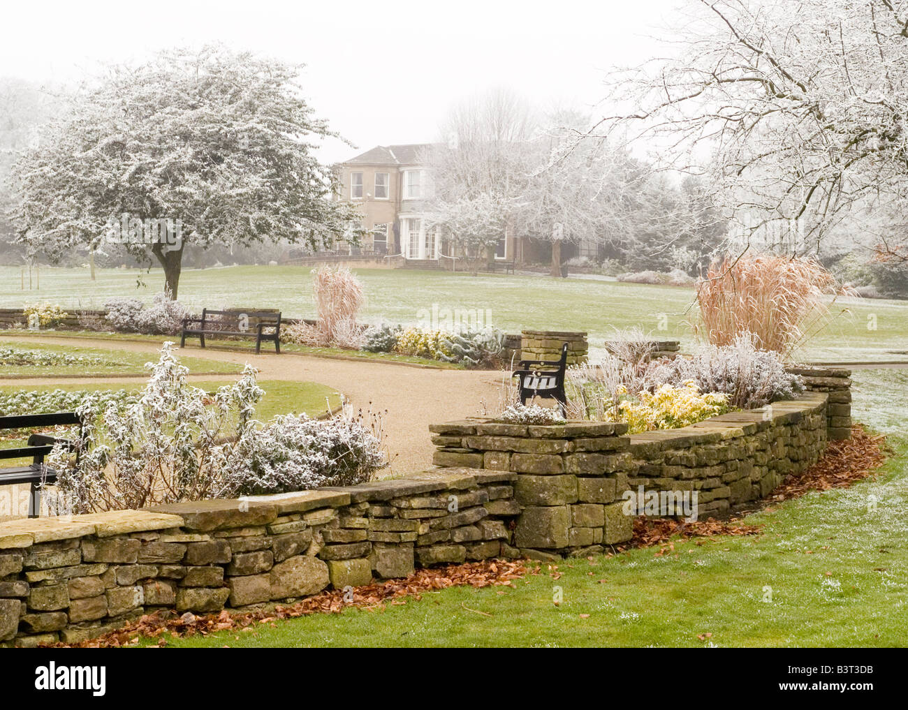 winter at carr bank park in mansfield town centre nottinghamshire