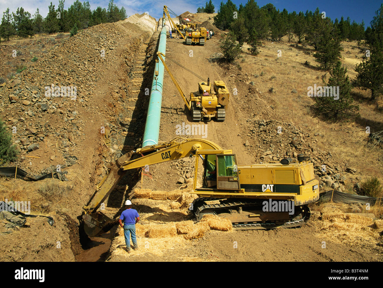 Natural Gas Pipeline Installation : Natural gas pipeline construction stock photo royalty
