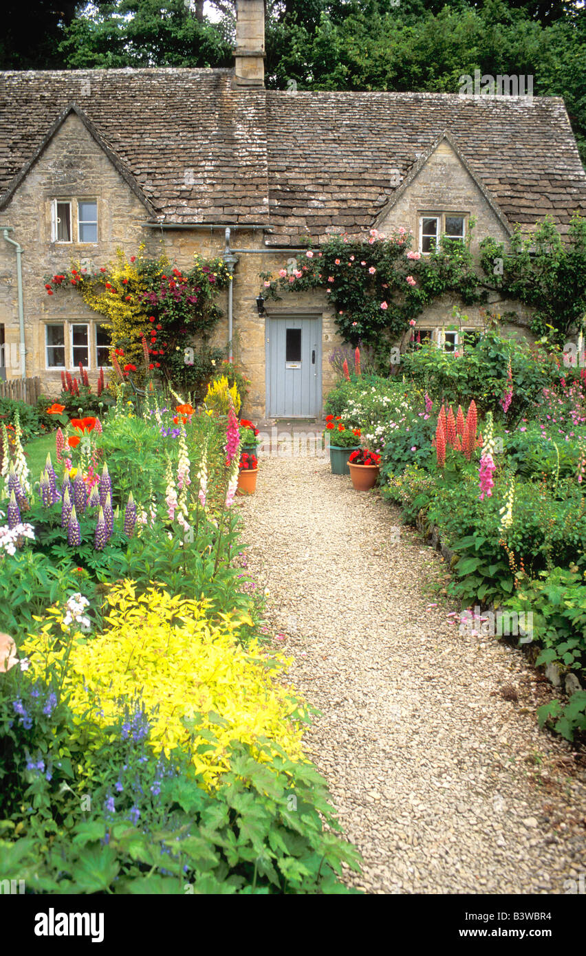 Old English Cottage Garden Summer In Ancient Village Of