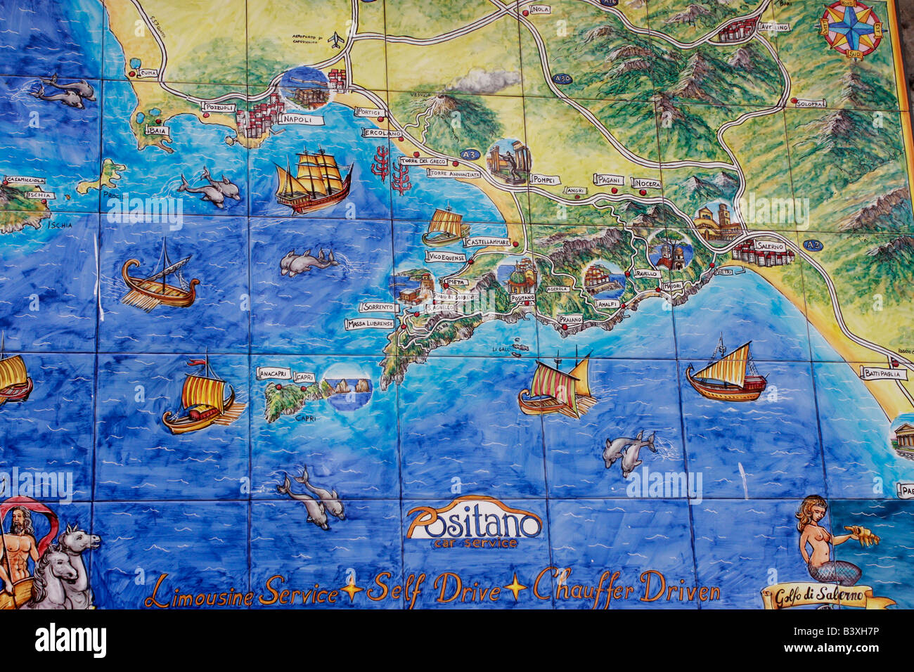 ceramic tile map of positanoamalfi coastitaly. ceramic tile map of positanoamalfi coastitaly stock photo