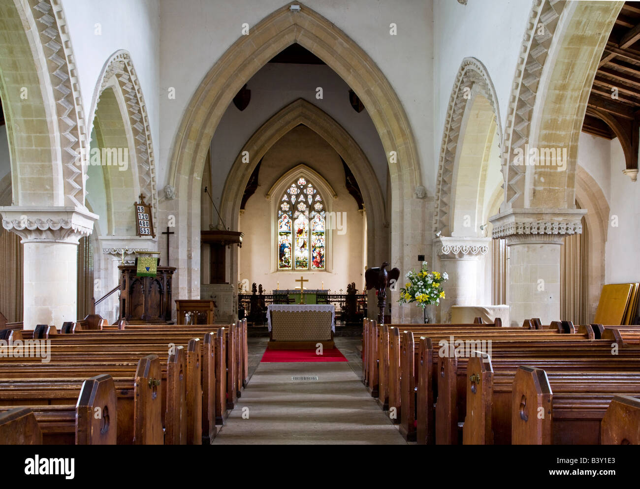Typical English Norman Village Country Church Interior At