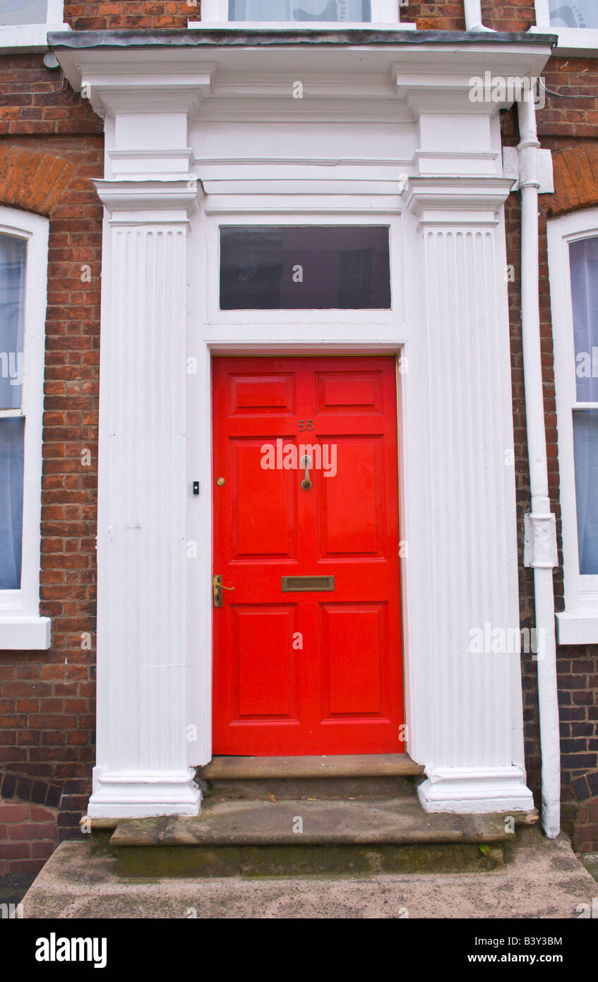 Red six panel front door with white pillars and glazed skylight of townhouse in Ludlow Shropshire England UK & Red six panel front door with white pillars and glazed skylight of ... Pezcame.Com