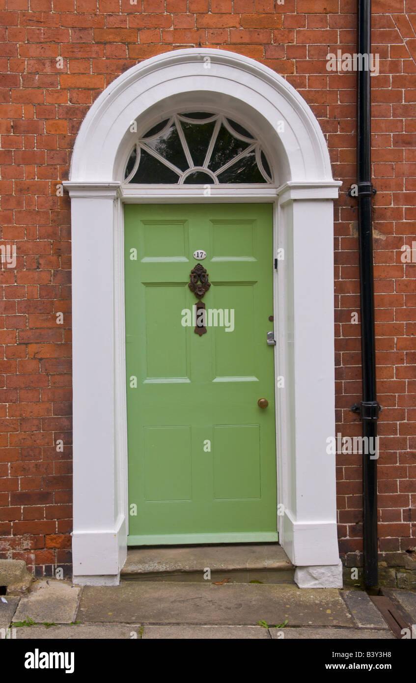 Decorating circular door images : Pale green six panel front door with semi-circular glazed fanlight ...