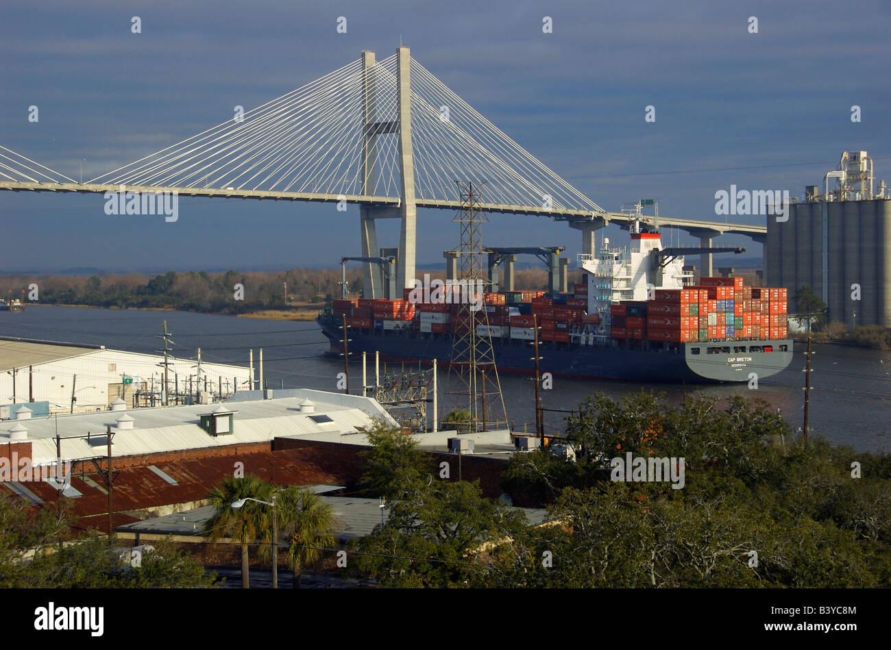 Usa georgia savannah historic district container ship for M m motors savannah ga