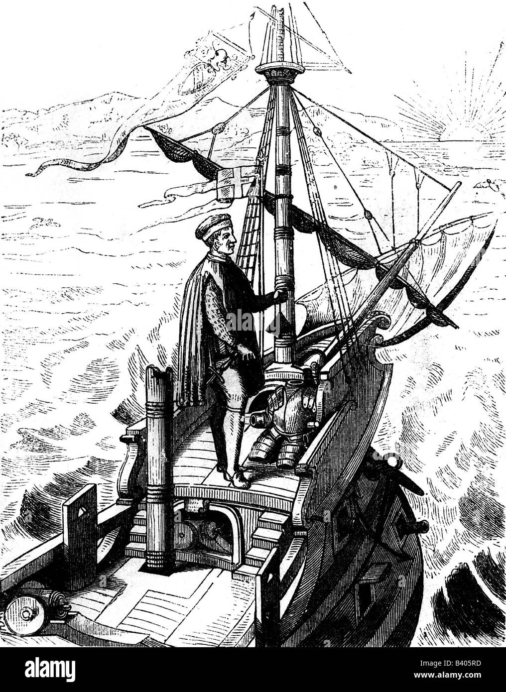 Whalers in action wood engraving published in 1855 stock illustration - Columbus Christopher 1451 20 5 1506 Italian Explorer Scene With