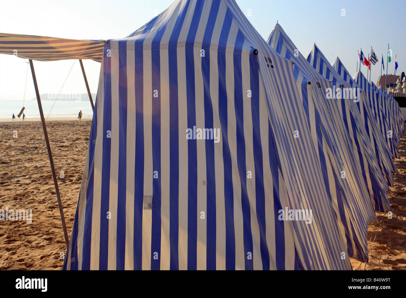 Blue and white striped sun tents on beach Grand Plage St Cast le Guildo Cotes du0027Amour Brittany France Europe & Blue and white striped sun tents on beach Grand Plage St Cast le ...