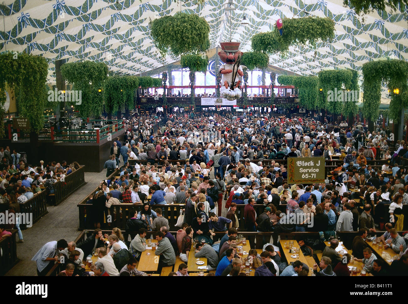 geography / travel Germany Bavaria Munich Oktoberfest beer tent hacker Pschorr marquee interior view wiesu0027n people cro & geography / travel Germany Bavaria Munich Oktoberfest beer ...