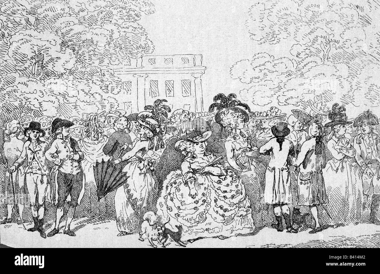 fashion th century great britain copper engraving stock stock photo fashion 18th century great britain copper engraving 1781 england people men women historic historical