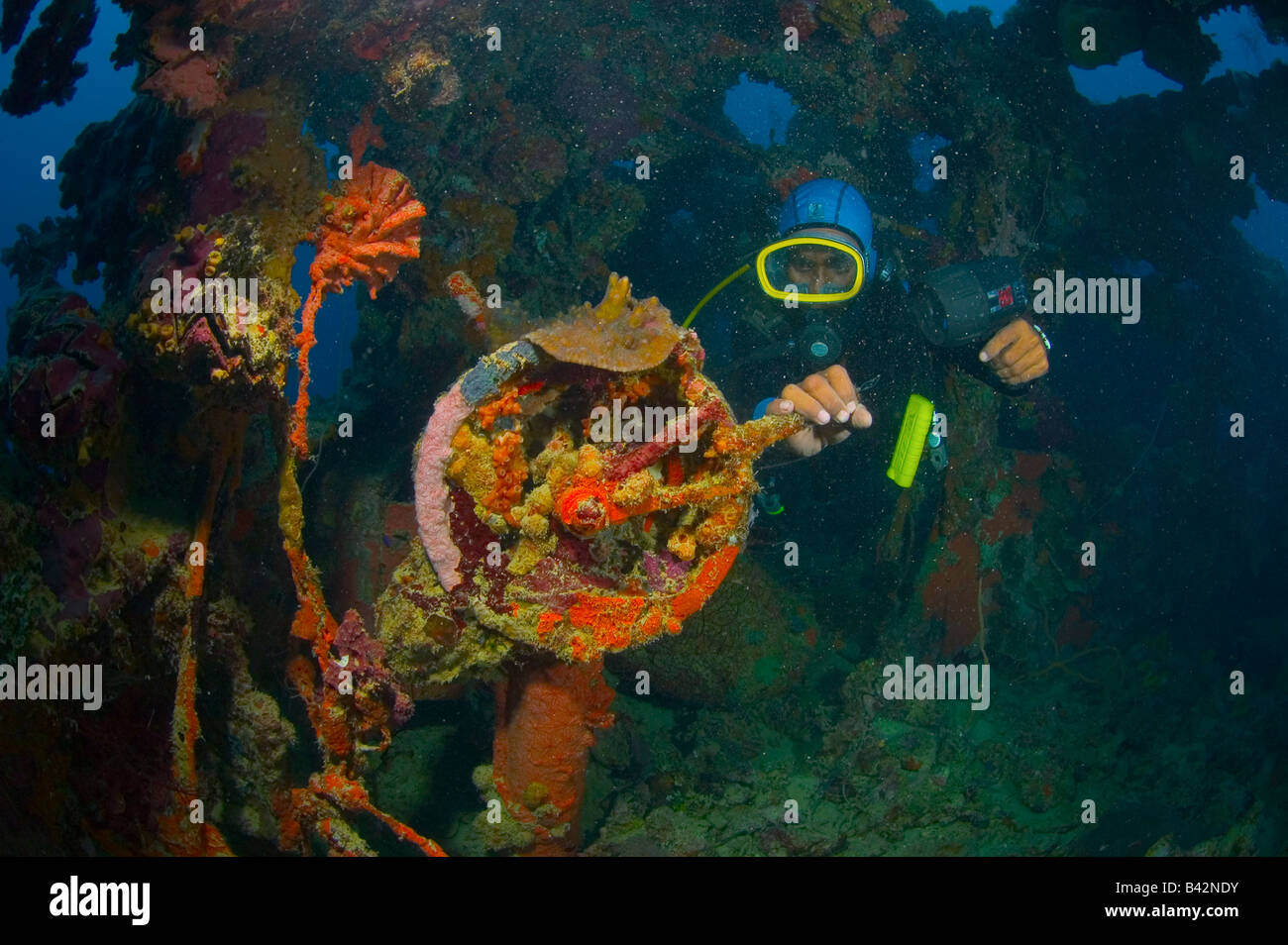 Diver and engine room telegraph at wreck shinkoku maru truk lagoon caroline islands pacific ocean chuuk micronesia