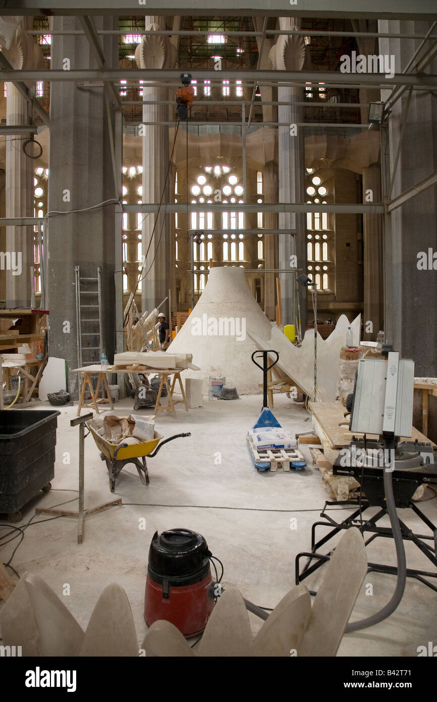 Interior view of construction of Sagrada Familia Holy Family Church