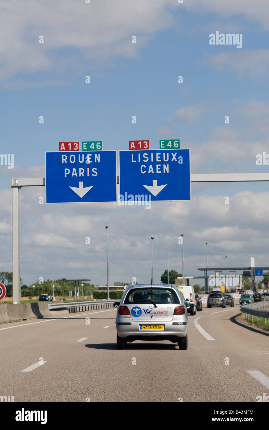 traffic driving on the a13 autoroute in normandy france stock photo royalty free image. Black Bedroom Furniture Sets. Home Design Ideas