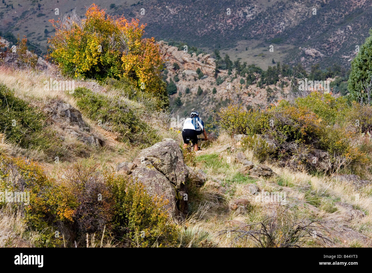 Mountain Bikers Ride The Rugged Trails Of White Ranch Park Near Golden  Colorado On A Warm Early Autumn Afternoon