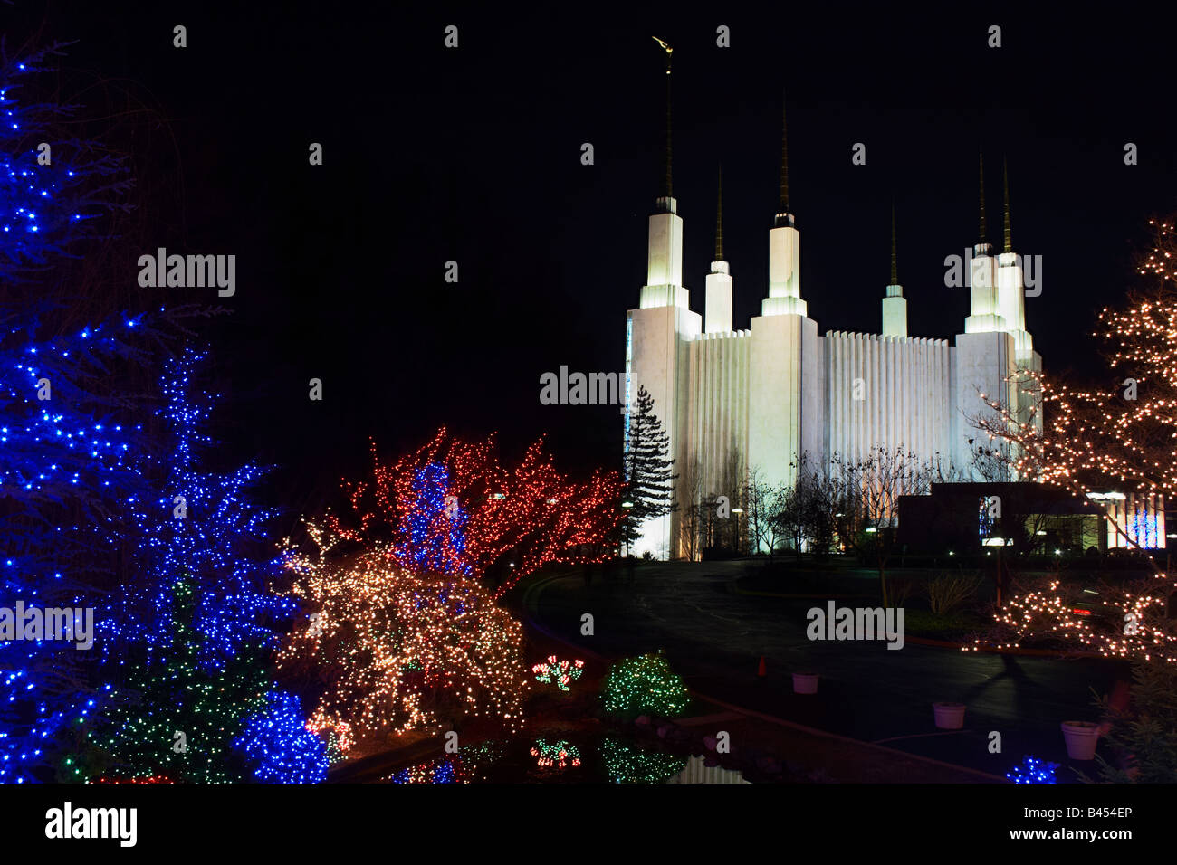 stock photo the mormon temple in kensington maryland surrounded by christmas lights during the festival of lights - Christmas Lights Maryland