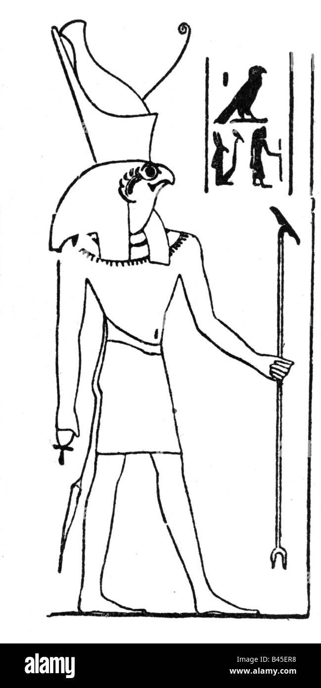 Horus Egyptian god heaven drawing after Egyptian relief