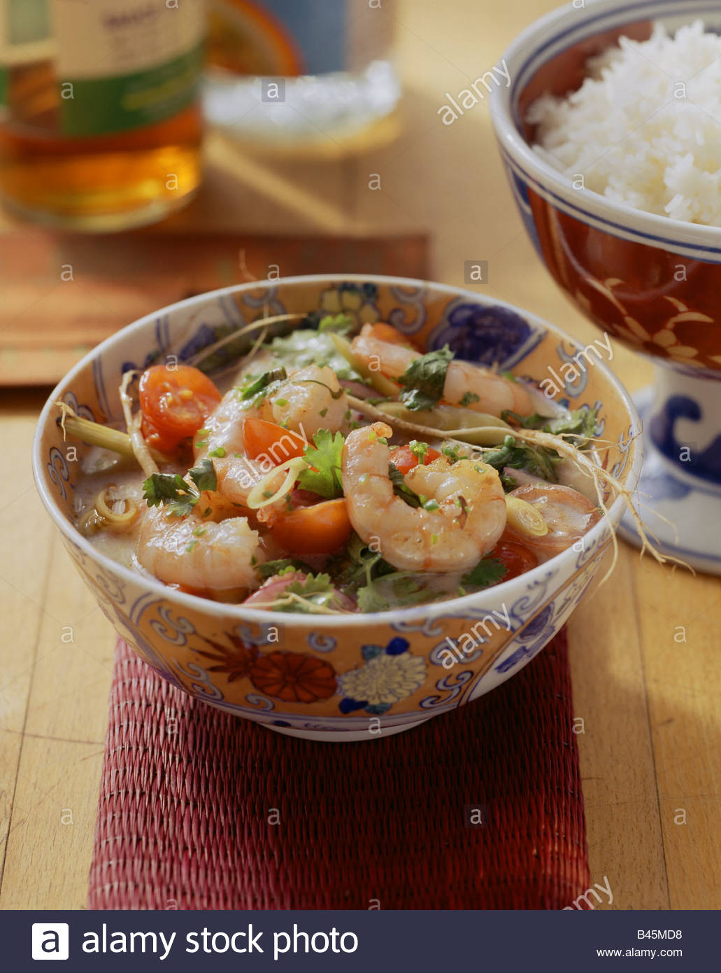 Shrimps In Spicy Coconut Milk Sauce  A Bowl Of Fragrant Rice