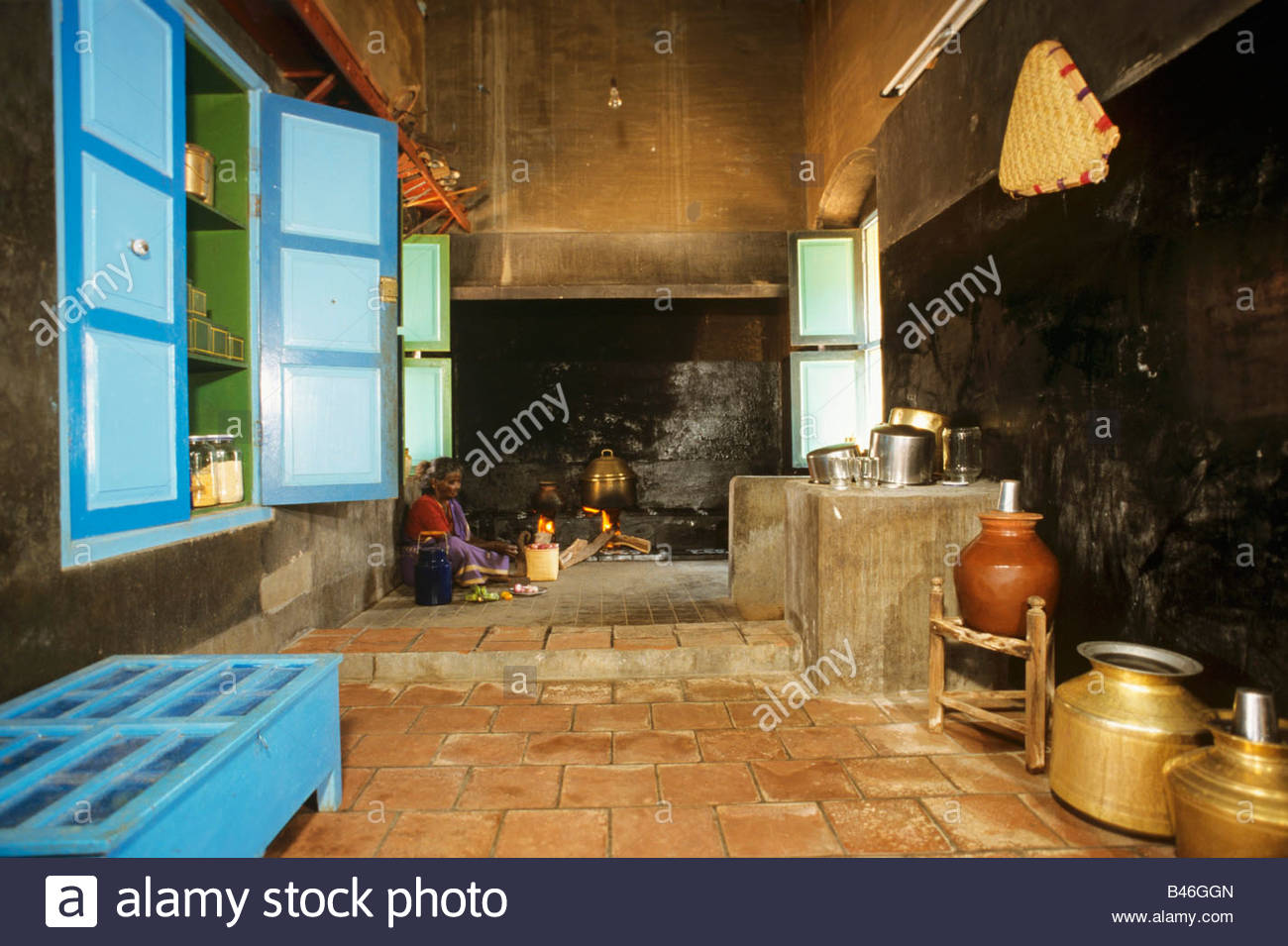 Traditional indian kitchen stock photo royalty free image for Traditional indian kitchen pictures
