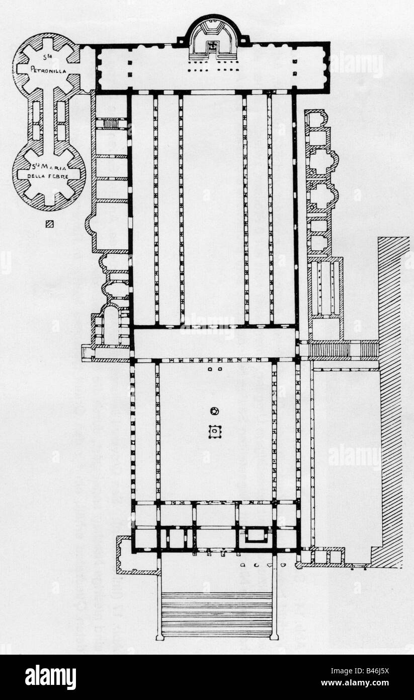 architecture floor plans old saint peter s basilica rome built