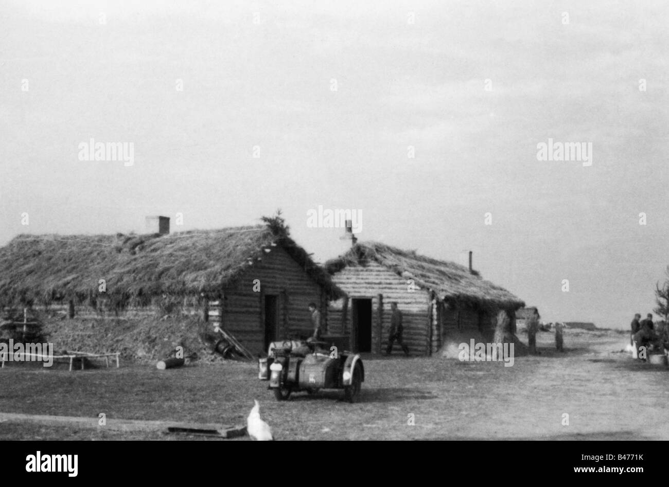 Events Second World War WWII Russia Behind The Front Two Russian Farmhouses As Quarters For German Soldiers Eastern