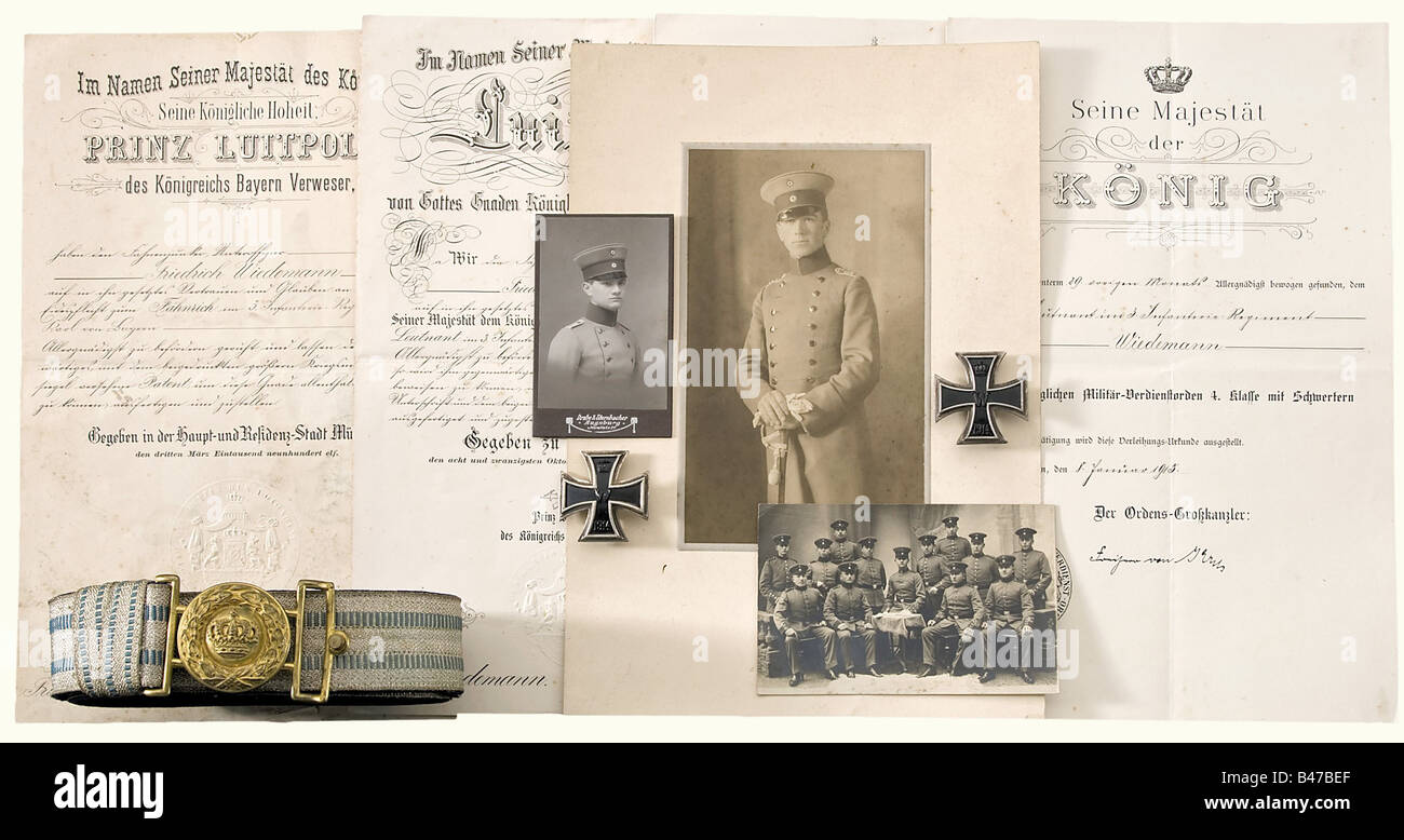 Fritz wiedemann in the bavarian army certificates awards and fritz wiedemann in the bavarian army certificates awards and various equipment etc admission certificate as an officer aspi xflitez Image collections