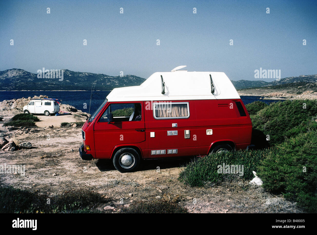 Tourism Camping Red Camper VW Type 2 With Top Piece Circa 1986 1980s Transporter T3 Volkswagen Transport Transportat