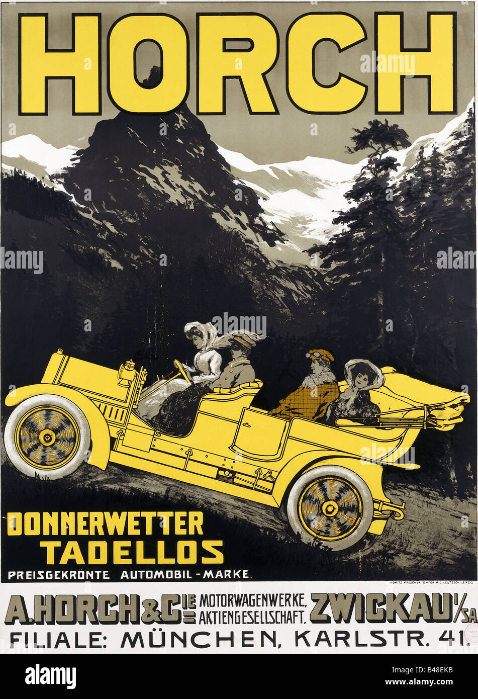 Colored cars zwickau - Stock Photo Advertising Cars August Horch Cie Zwickau Germany Poster For Munich Branch Donnerwetter Tadellos Circa 1910 Hist