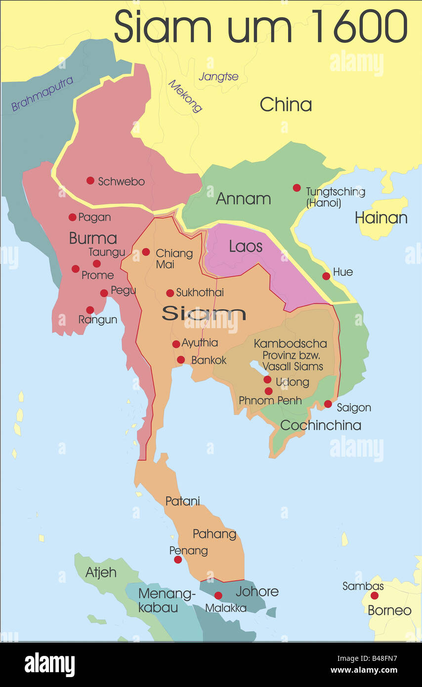 Map Of Siam Stock Photos Map Of Siam Stock Images Alamy - China historical map 1890 1907