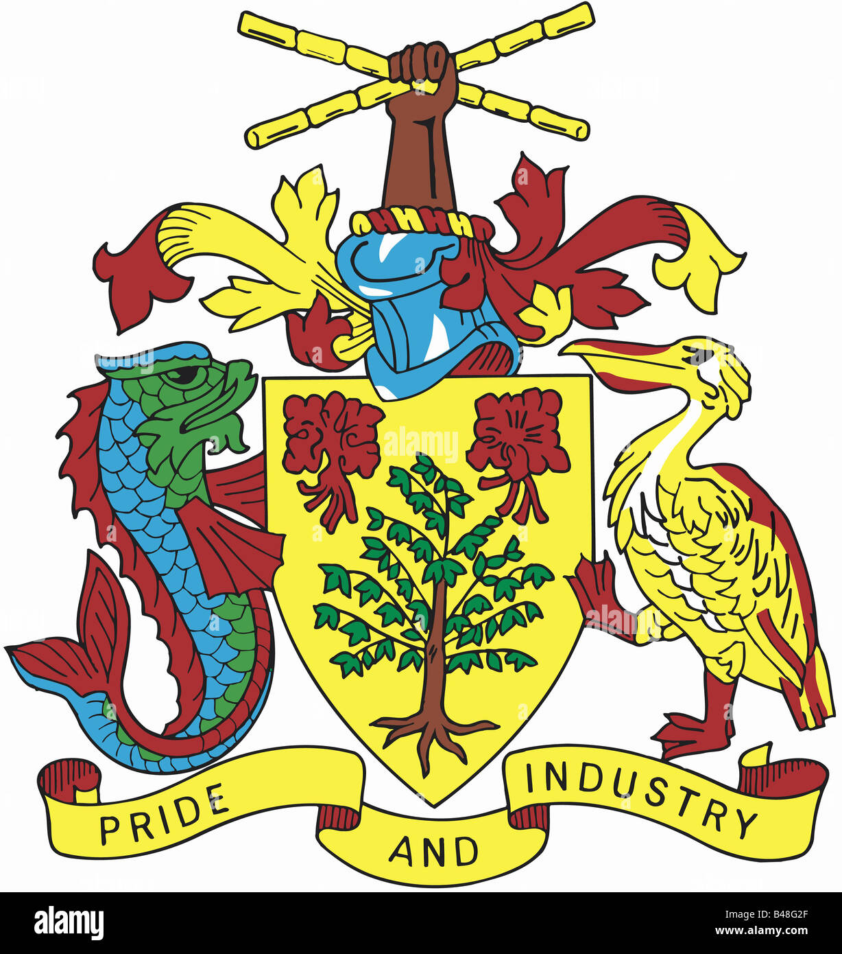 heraldry, coat of arms, Barbados, national coat of arms, symbol ...