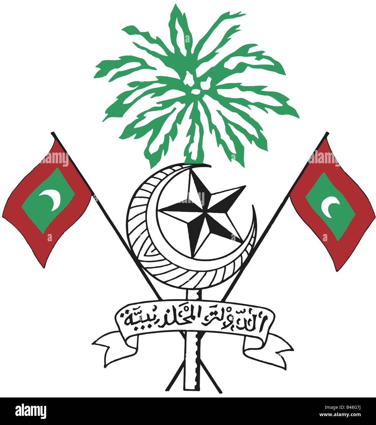Heraldry emblem maledives national coat of arms introduced heraldry emblem maledives national coat of arms introduced 1965 asia symbol flags half moon star islam palm geograp biocorpaavc