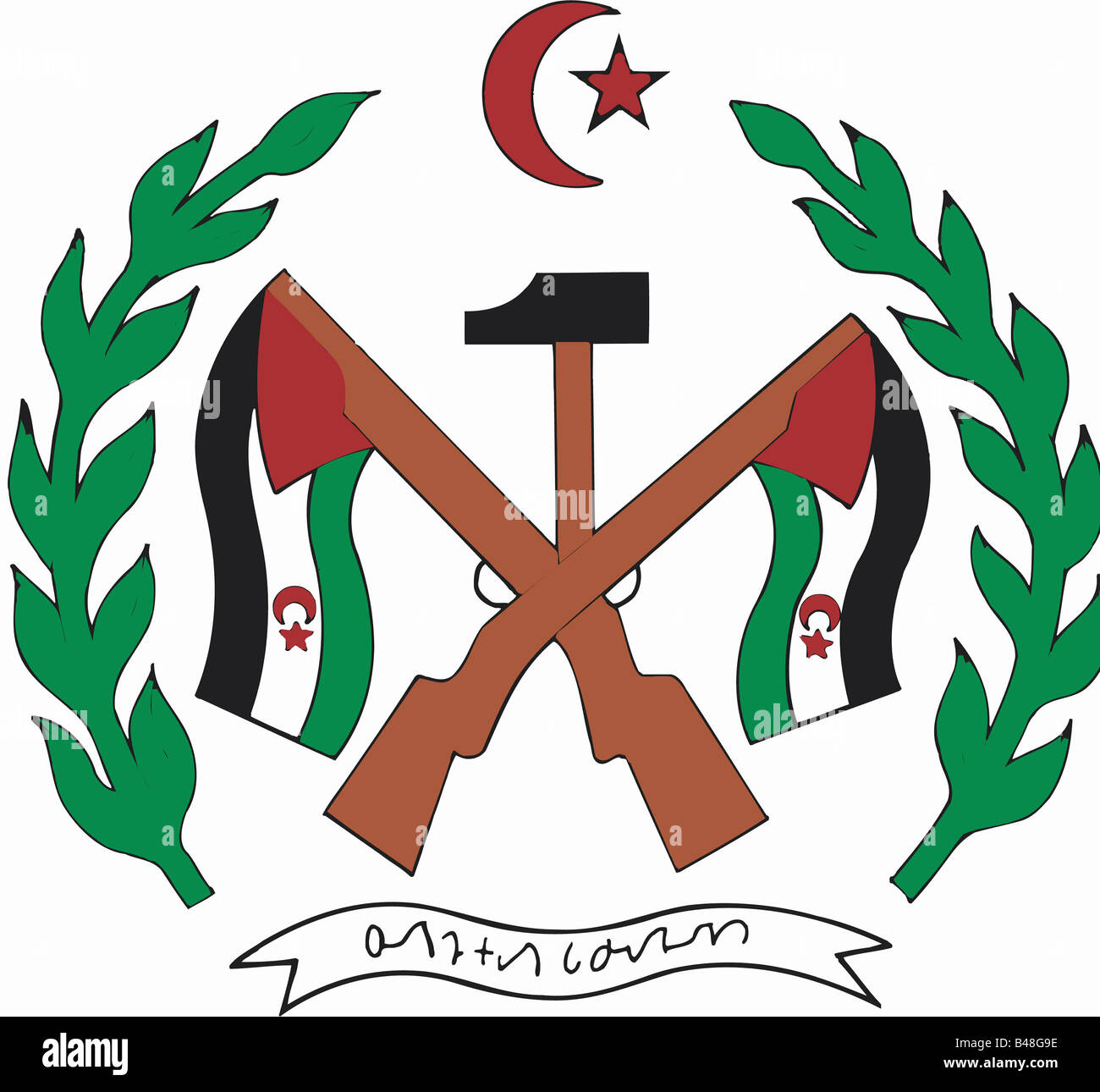 Heraldry emblem western sahara national coat of arms heraldry emblem western sahara national coat of arms introduced 2721976 africa symbol weapons rifles flags hammer buycottarizona