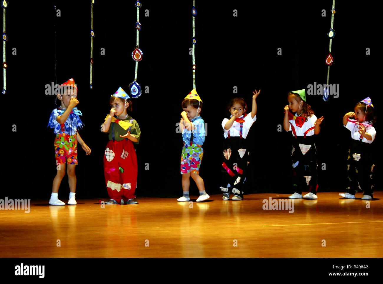 Pretty children (kids) Stage performance of a kindergarten (kids club).  Istanbul, Turkey