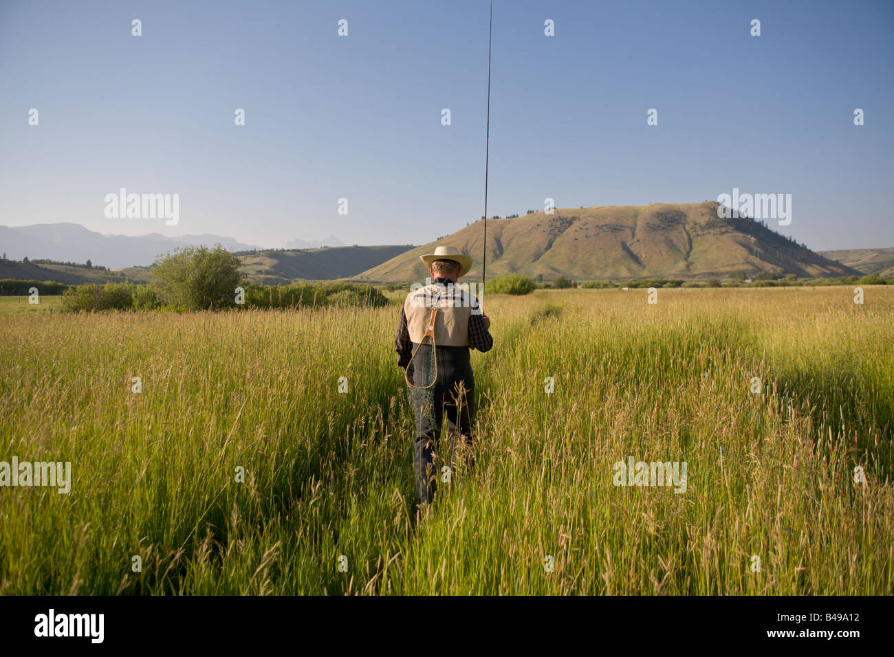 A man fly fishing in jackson hole wyoming stock photo for Fly fishing jackson hole