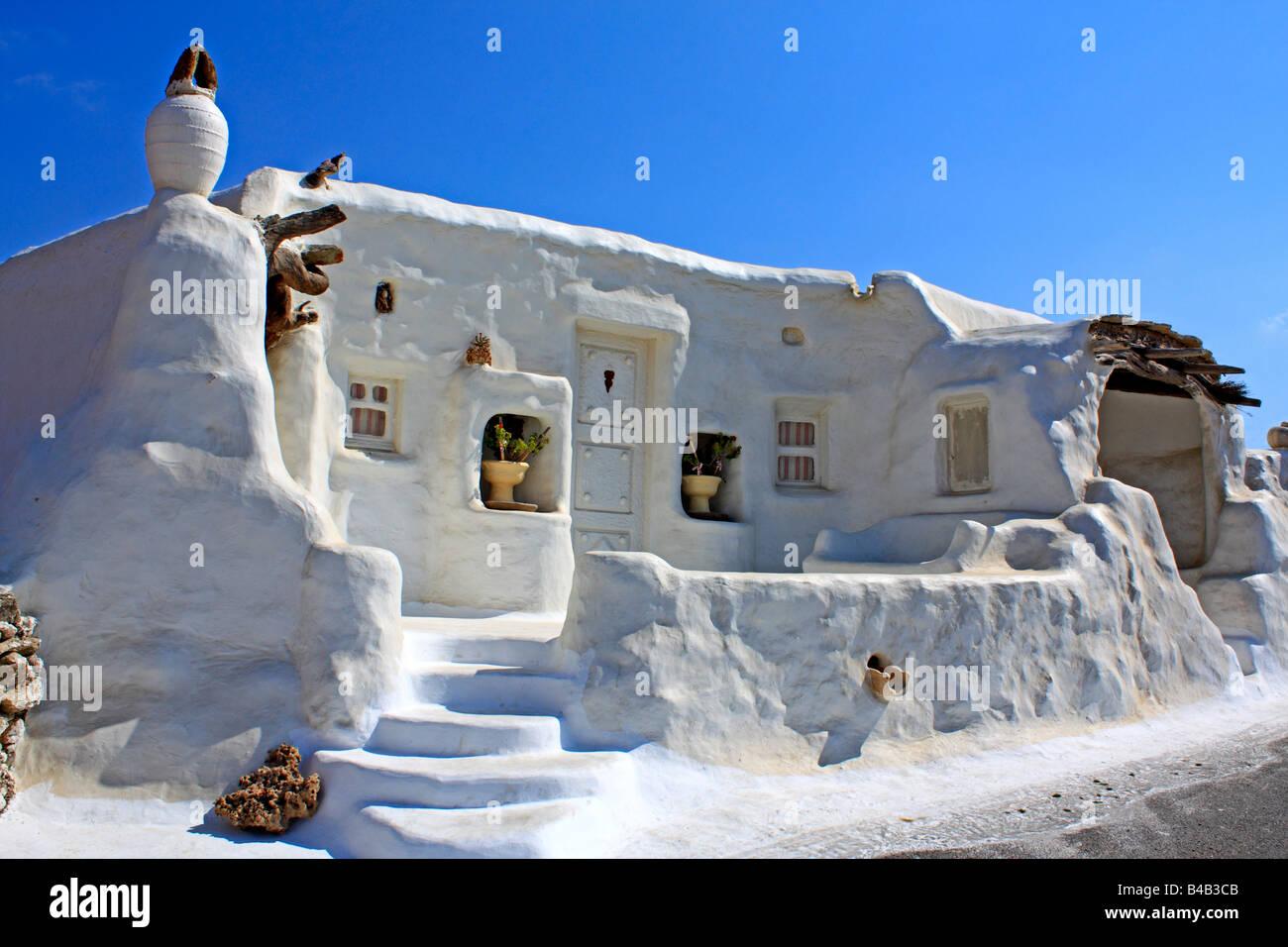 Greek Style House whitewash house facade mediterranean stock photos & whitewash