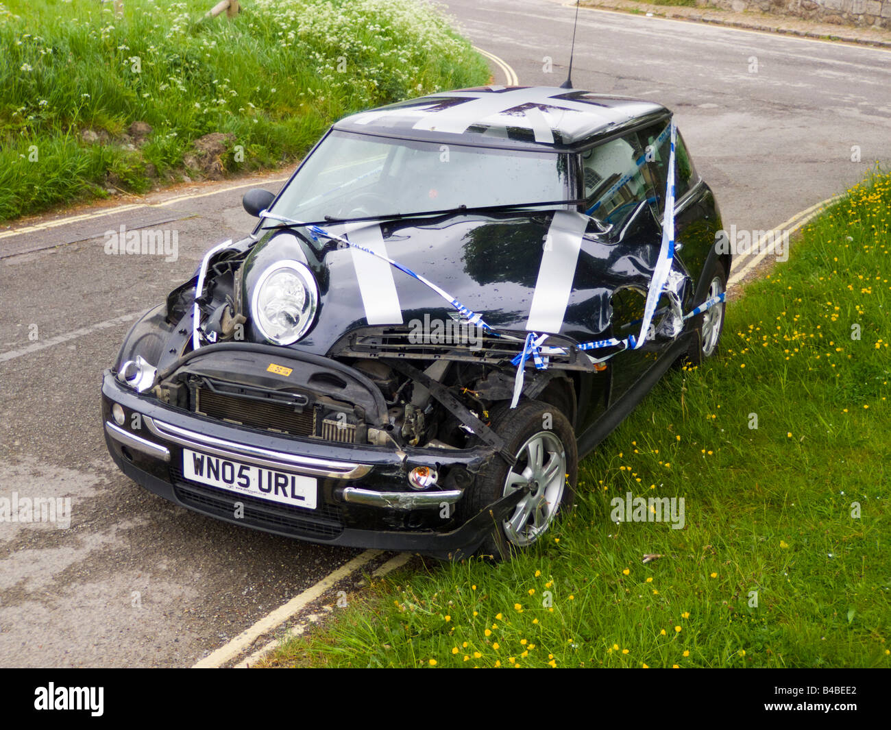 bmw mini cooper after crash accident stock photo royalty free image 19921834 alamy. Black Bedroom Furniture Sets. Home Design Ideas