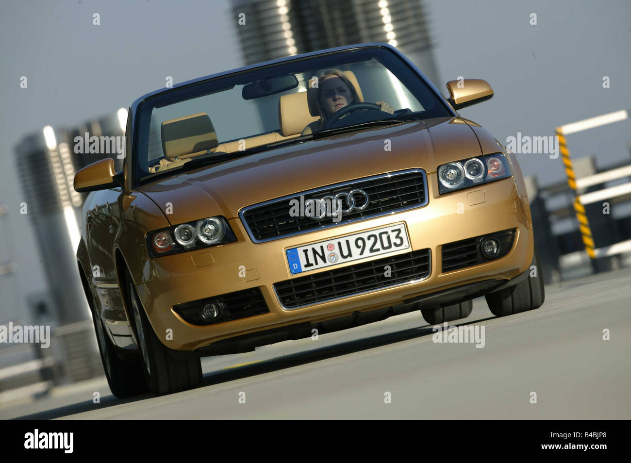 Car, Audi A4 Convertible, Diesel Engine, Model Year 2000 , Gold, Open Top,  Driving, Diagonal From The Front, Front View