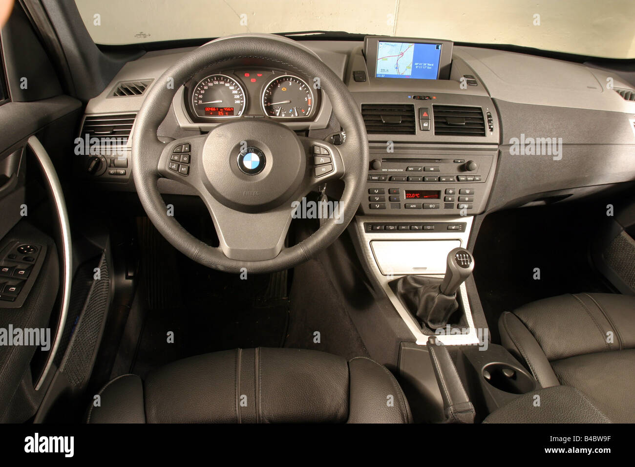 Car bmw x3 3 0d cross country vehicle model year 2003 blue interior view interior view cockpit technique accessory acc