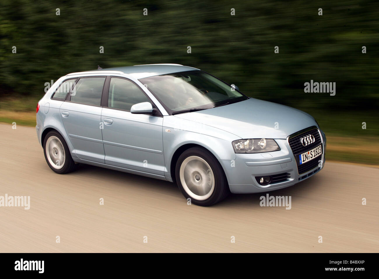 Car audi a3 sportback 2 0 tfsi model year 2004 hatchback lower middle sized class silver blue moving diagonal from the fr
