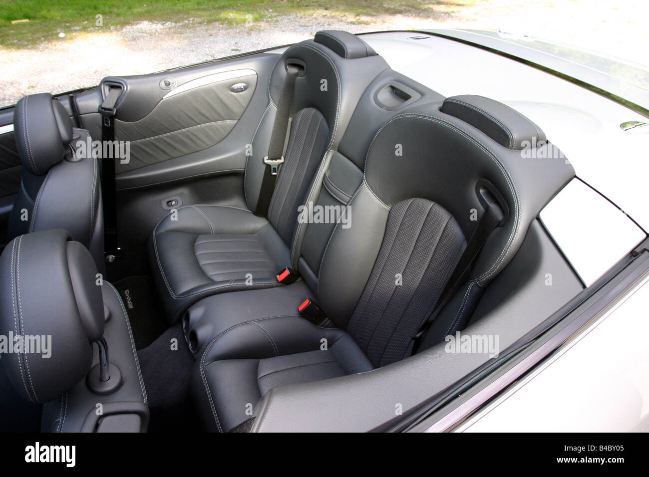 car mercedes clk 55 amg convertible model year 2003 silver open stock photo royalty free. Black Bedroom Furniture Sets. Home Design Ideas