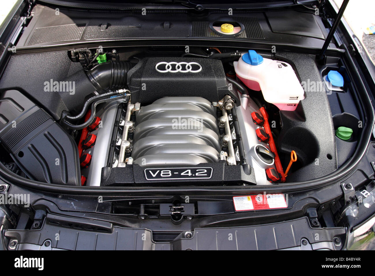Car, Audi S4, Convertible, model year 2003-, view in engine Stock Photo, Royalty Free Image ...